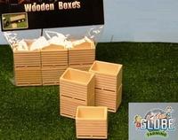 6 Houten palletboxen/kuubkisten  1:32