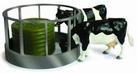 Râtelier pour balle ronde + 1 balle de foin ronde + 2 vaches