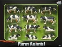 Assortiment van 12 Zwartbonte koeien  1:32