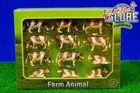 Assortiment van 12 Roodbonte koeien  1:32