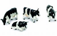 Britains -4 Zwartbonte koeien (2 staand, 1 liggend, 1 stier)