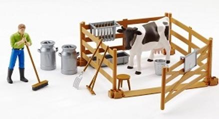Set:Vache avec une Homme, 1 Vache et Accessoires