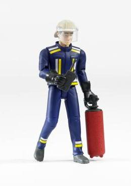 BWorld Brandweerman /Pompier met helm, brandblusser en radio