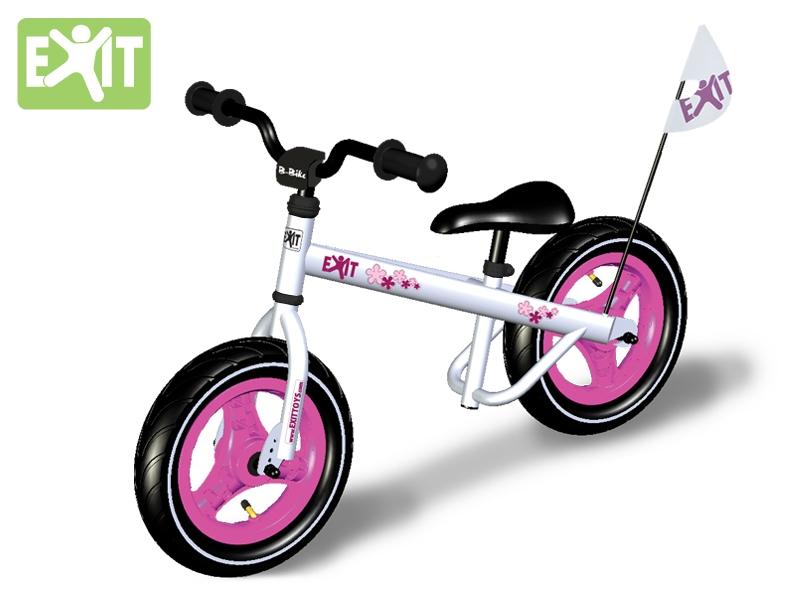 EXIT - B-Bike Lady - Meisjes Loopfiets - Wit met Roos Bloem