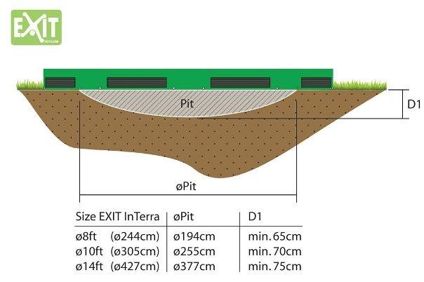 EXIT InTerra 366 - Ingraaf Trampoline Diameter 366 cm (12Ft)